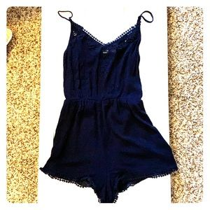 Lush navy blue dress romper